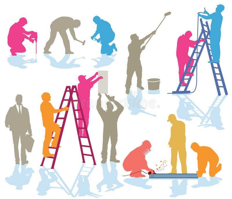 Rzemieślnik pracuje przy budową ilustracji