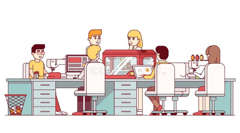 Rzemieślnik pracuje wpólnie w DIY warsztata studiu ilustracji