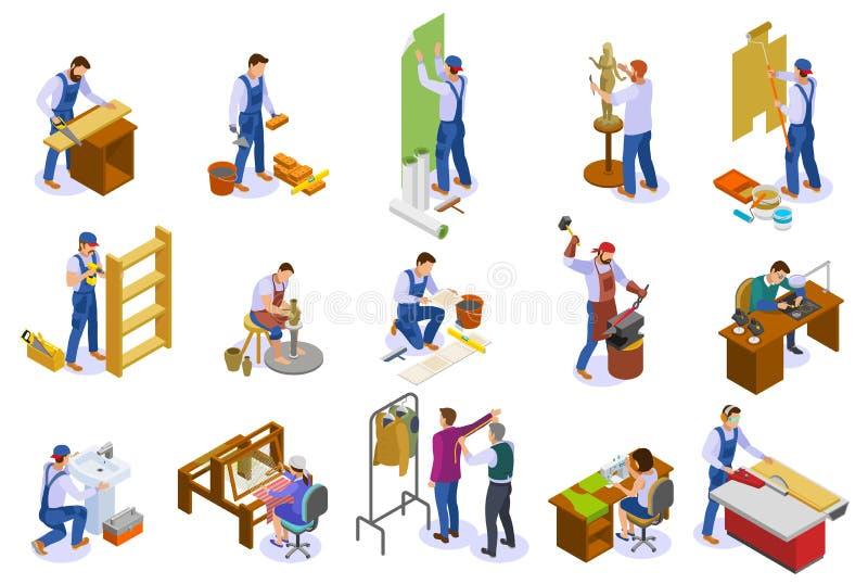 Rzemieślnik pracy Isometric set ilustracja wektor