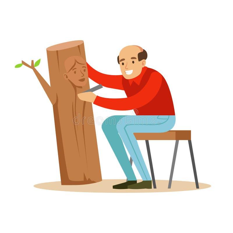 Rzemieślnik rzeźbi portret kobieta nad kawałkiem bagażnik Rzemiosło zawodu i hobby charakteru kolorowy wektor royalty ilustracja