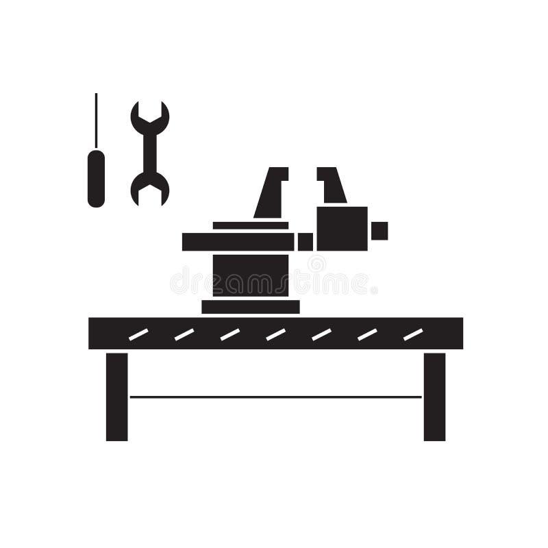 Rzemieślnika pojęcia pracowniana czarna wektorowa ikona Rzemieślnik pracowniana płaska ilustracja, znak ilustracji