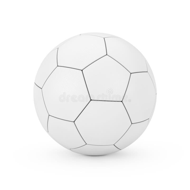 Rzemienna Biała Futbolowa piłki nożnej piłka w glina stylu świadczenia 3 d ilustracja wektor