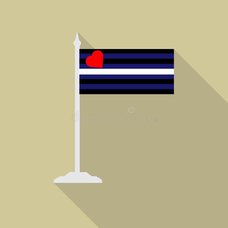 Rzemienna fetysz dumy LGBT flaga z flagpole płaską ikoną z długim cieniem Wektorowa ilustracja EPS10 royalty ilustracja
