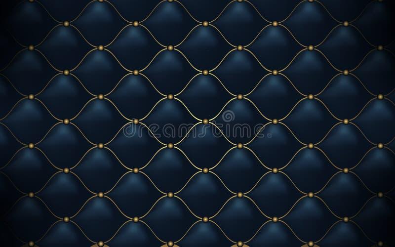 Rzemienna tekstura Abstrakcjonistyczny poligonalny deseniowy luksusowy zmrok - błękit z złotem ilustracji