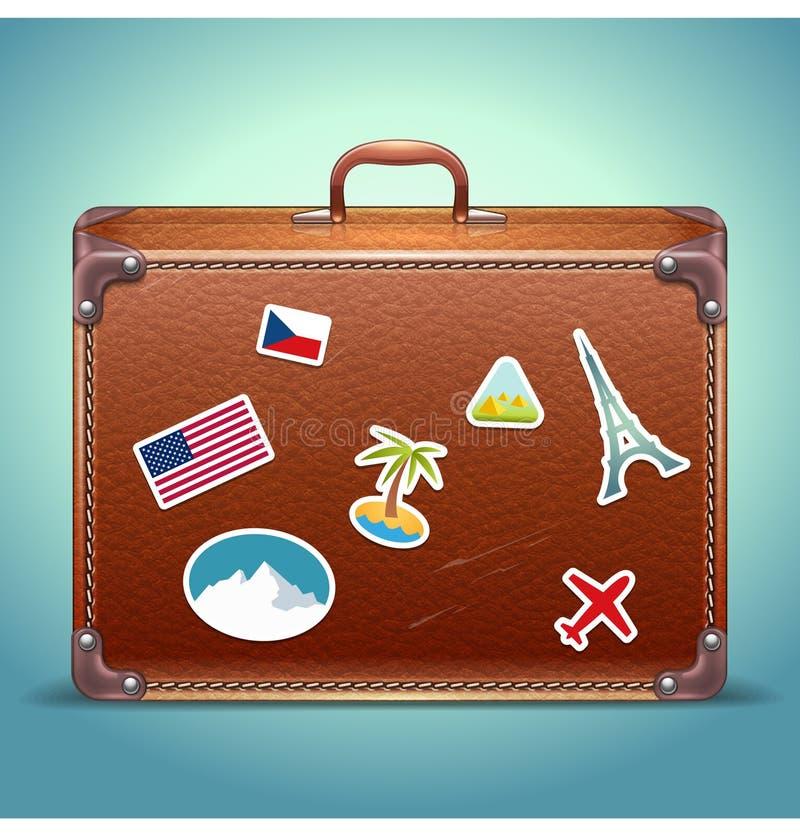 Rzemienna walizka z podróż majcherem ilustracja wektor