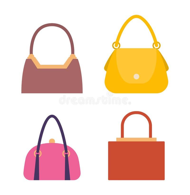 Rzemienne torebki, torby z rękojeściami i kędziorki Ustawiający, ilustracja wektor