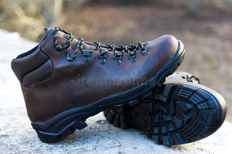 Rzemienni buty strona, typ Gumowy outsole zdjęcia royalty free