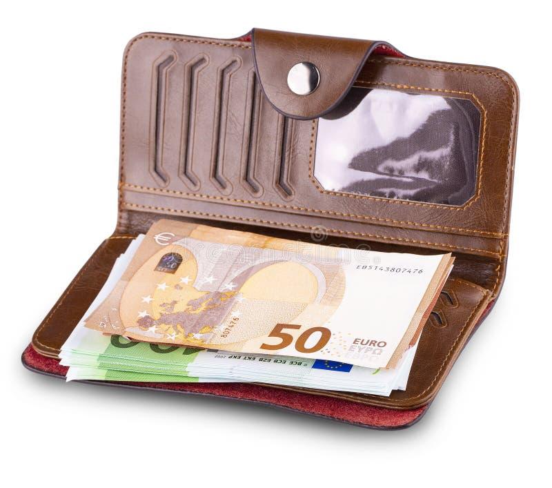 Rzemienny portfel i wycofywać Europejską walutę fotografia royalty free