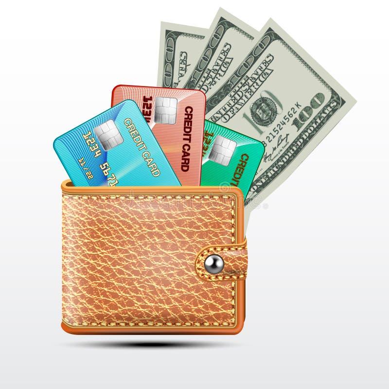 Rzemienny portfel z kredytowymi kartami, dolary usa royalty ilustracja