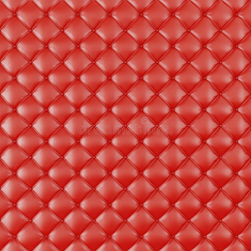 Rzemienny tapicerowanie kanapy tło Czerwona Luksusowa dekoraci kanapa Elegancka Czerwona Rzemienna tekstura Z guzikami Dla wzoru  ilustracji