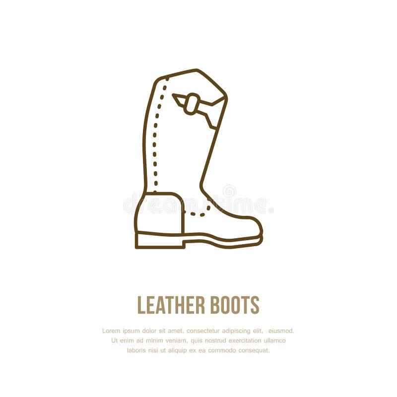 Rzemiennych butów kreskowy logo Mieszkanie znak dla polo wyposażenia sklepu Tradycyjna kowbojska obuwie ikona royalty ilustracja