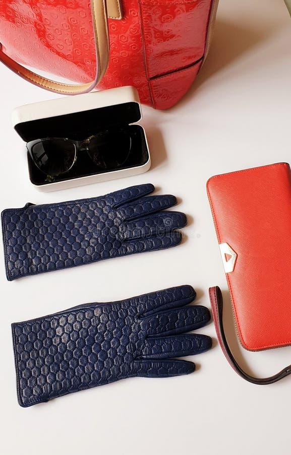 Rzemiennych rękawiczek czarnych okularów przeciwsłonecznych kiesy torebki mody wiosny jesieni kobiet akcesoriów bielu czerwony tł obraz royalty free