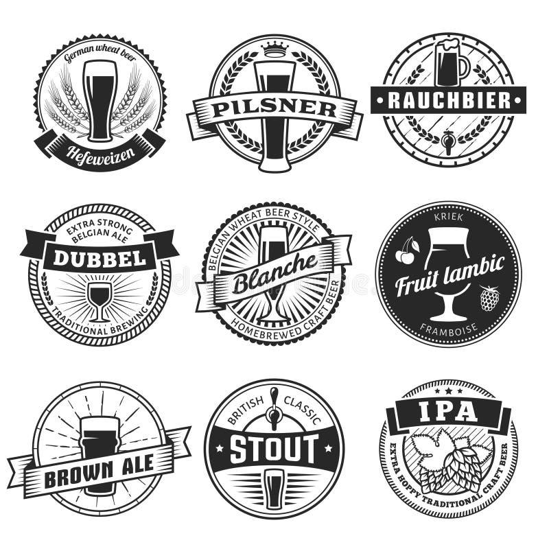 Rzemiosła piwa etykietki royalty ilustracja