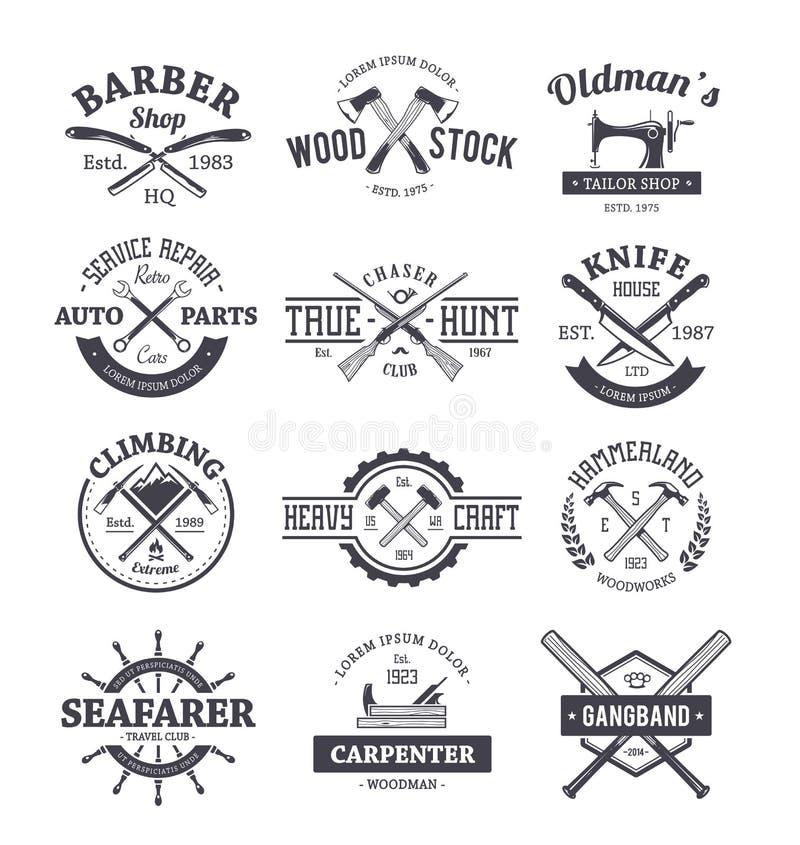 Rzemiosło emblematów wektoru set ilustracja wektor