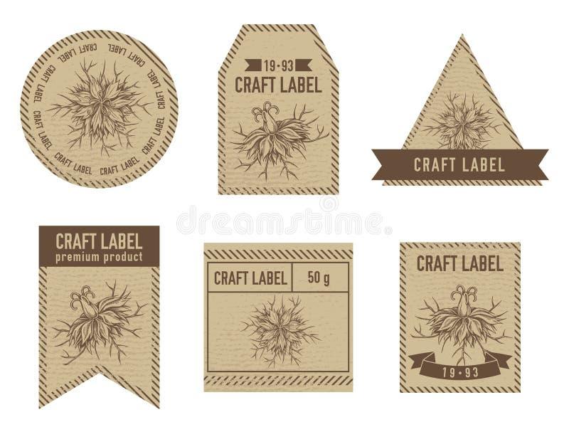 Rzemiosło etykietki z czarnym karolkiem ilustracja wektor