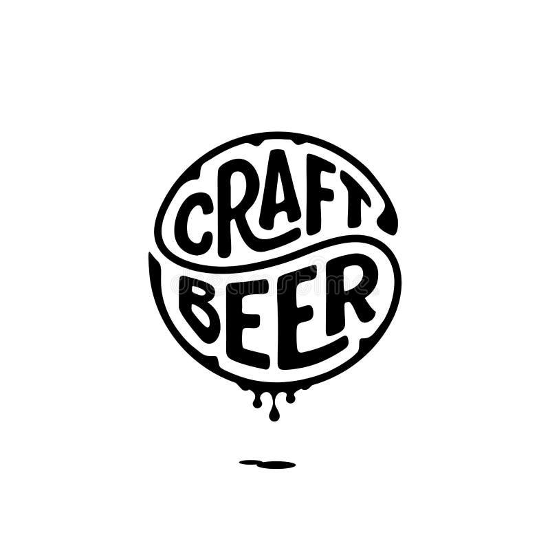 Rzemiosło okręgu piwny literowanie z atramentu bielem ilustracji