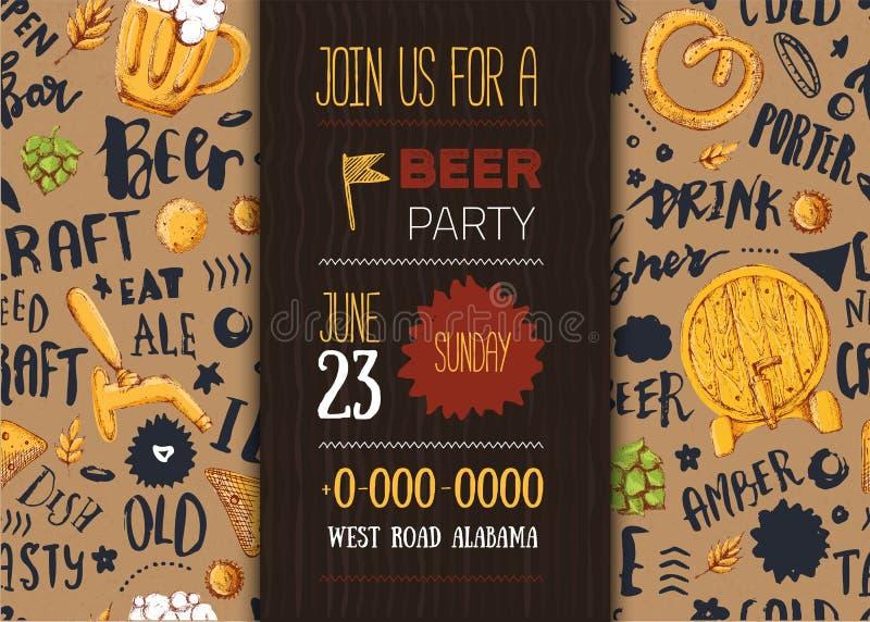 Rzemiosło piwny menu z nakreślenie kubkiem, precel, banatka na deseniowym tle z literowaniem nowoczesne plakat ilustracja wektor
