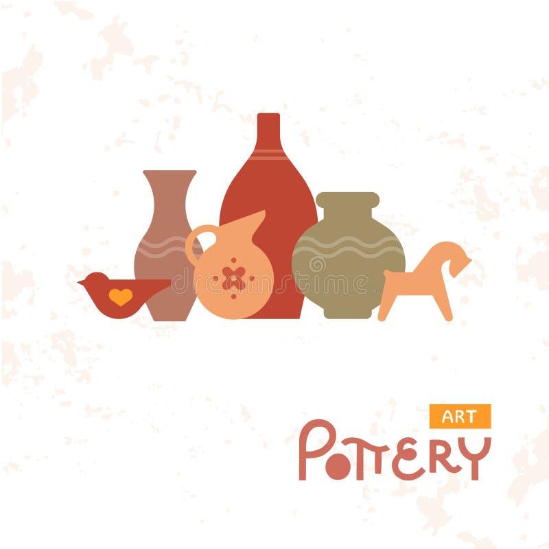 Rzemiosło waz garncarstwo glina Handmade Gliniany Ceramiczny warsztat Artisanal Kreatywnie rzemiosło znaka pojęcie royalty ilustracja