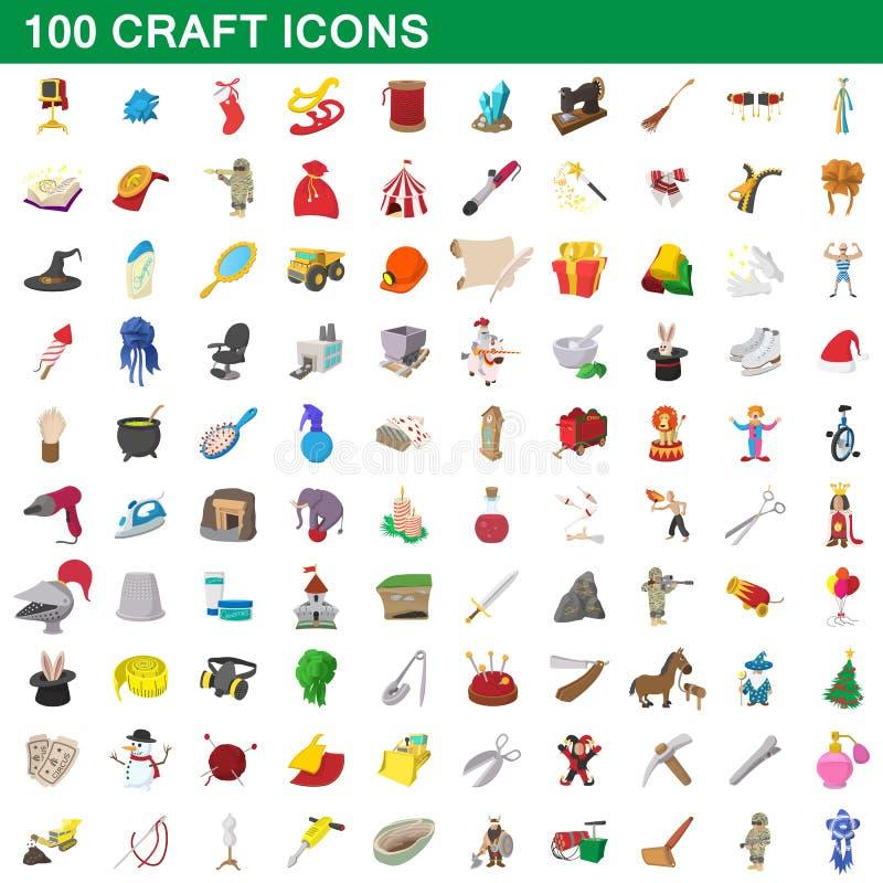 100 rzemioseł ikon ustawiających, kreskówka styl ilustracja wektor