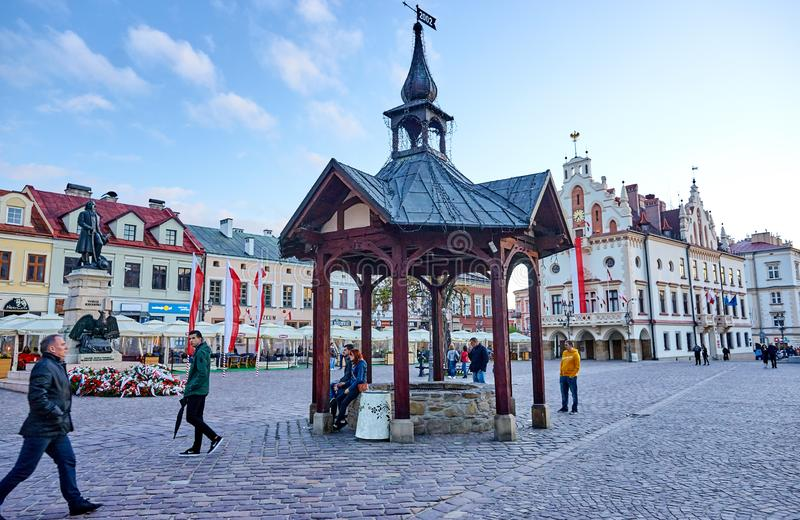 RZESZOW, POLAND - MAY 4, 2019: The old square on 4 May 2019 in R stock images