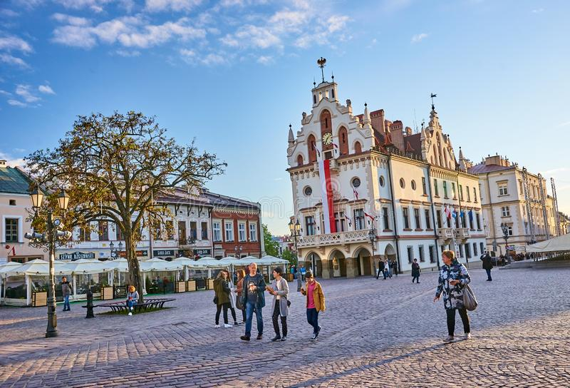 RZESZOW, POLAND - MAY 4, 2019: The old square on 4 May 2019 in R royalty free stock photography