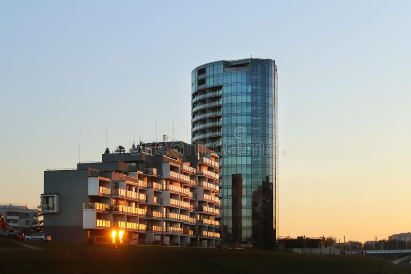 Rzeszow, Poland - oct 8 2018: Modern residential apartment building in the evening sunset. Urbanization and construction in the ci. Ty. High technology royalty free stock image