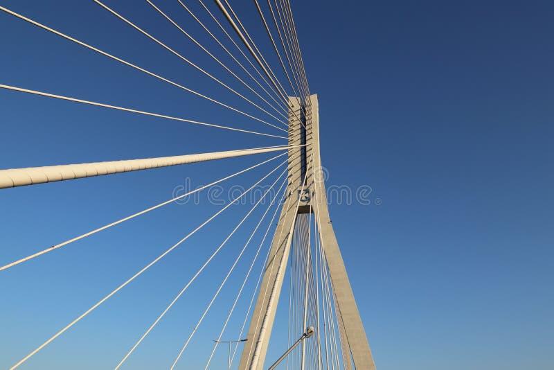 Rzeszow, Polonia - 9 9 2018: Puente suspendido del camino a través del río de Wislok Estructura tecnológica de la construcción me foto de archivo libre de regalías
