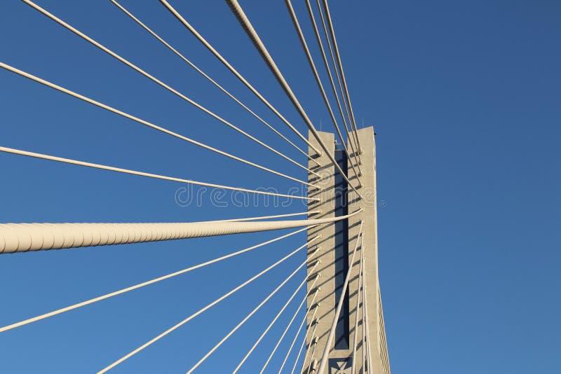 Rzeszow, Polonia - 9 9 2018: Puente suspendido del camino a través del río de Wislok Estructura tecnológica de la construcción me foto de archivo