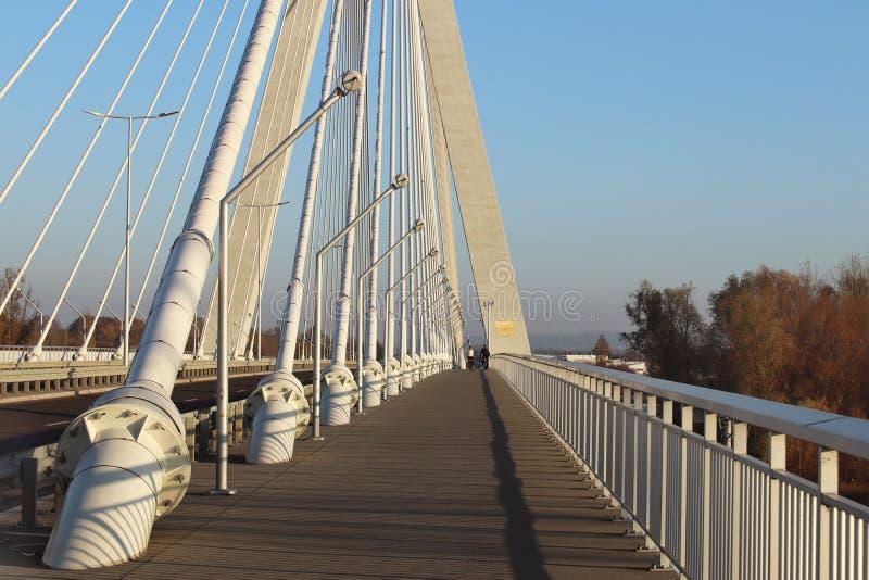 Rzeszowski, Polska - 9 9 2018: Zawieszony droga most przez Wislok rzekę Metal budowy technologiczna struktura Nowożytny łuk obraz royalty free