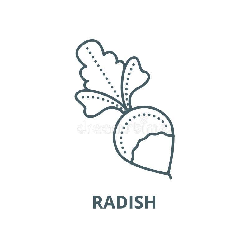 Rzodkiew wektoru linii ikona, liniowy pojęcie, konturu znak, symbol royalty ilustracja