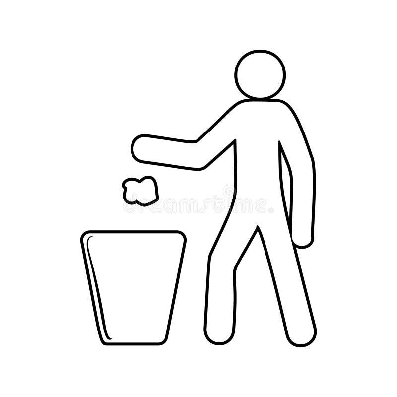 rzuca śmieci w kubeł na śmieci ikonę Element ekologia dla mobilnego pojęcia i sieci apps ikony Cienka kreskowa ikona dla strona i ilustracji