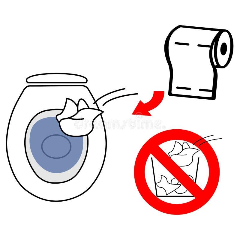 Rzuca używać papier toaletowego w toaletowym pucharze no rzuca go w ściółka kosz royalty ilustracja