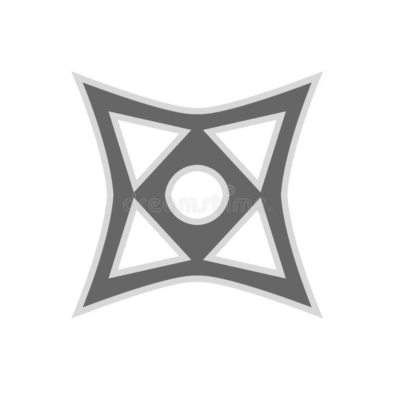 Rzucający gwiazdowego ninja shuriken wektorową płaską ikonę Zabija zabawa antykwarskiego szwu sylwetki prostą ostrą broń royalty ilustracja