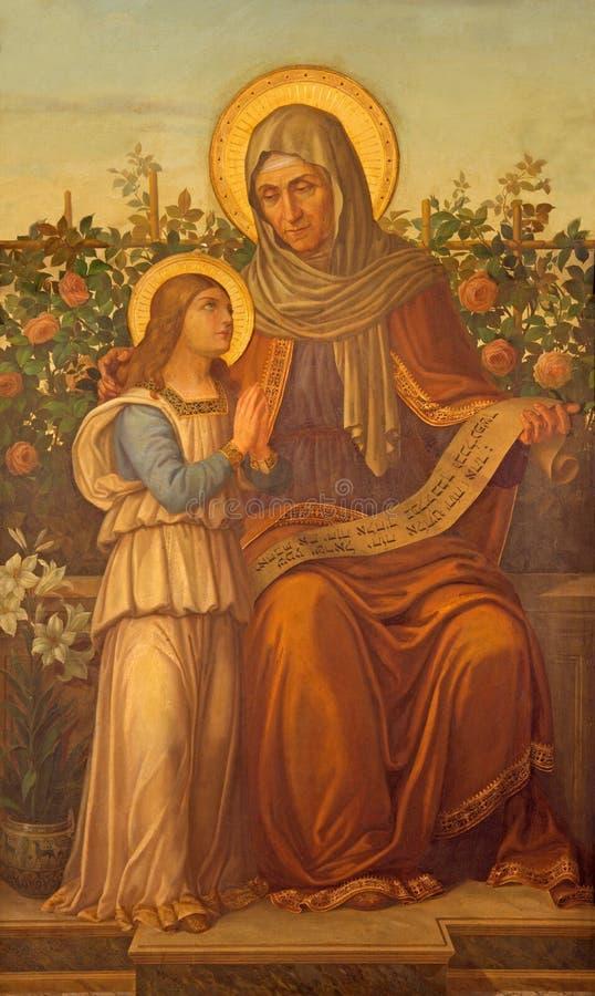 Rzym - farba St Ann z maryja dziewica w kościelnym Chiesa Di Nostra Signora del Sacro Cuore zdjęcie royalty free