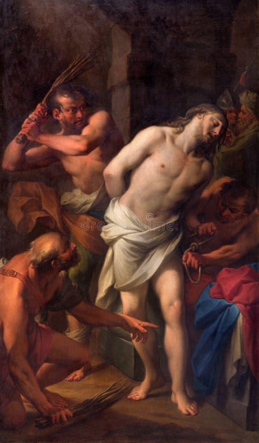 Rzym - Flagellation Chrystus Andrea Casali w kościelnym Chiesa della Santissima Trinita degli Spanoli (1777) fotografia royalty free