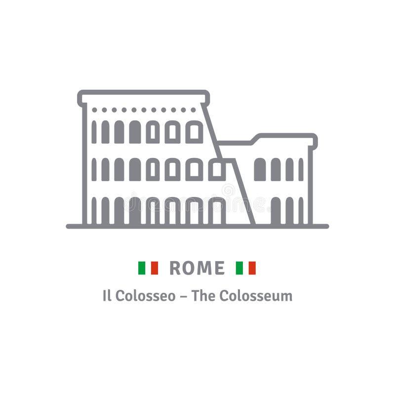 Rzym ikona z colosseum i włocha flaga ilustracji