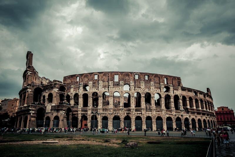 Rzym koloseum Włochy Punkt zwrotny, włoska rzymska antyczna sławna architektura obraz royalty free