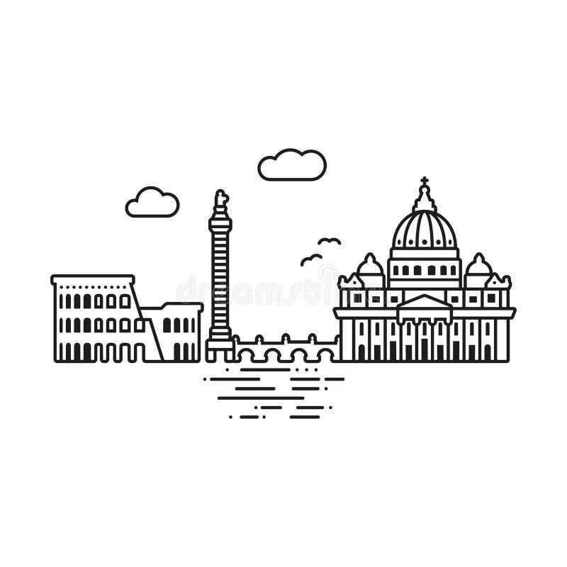 Rzym pejzażu miejskiego wektoru ilustracja ilustracja wektor