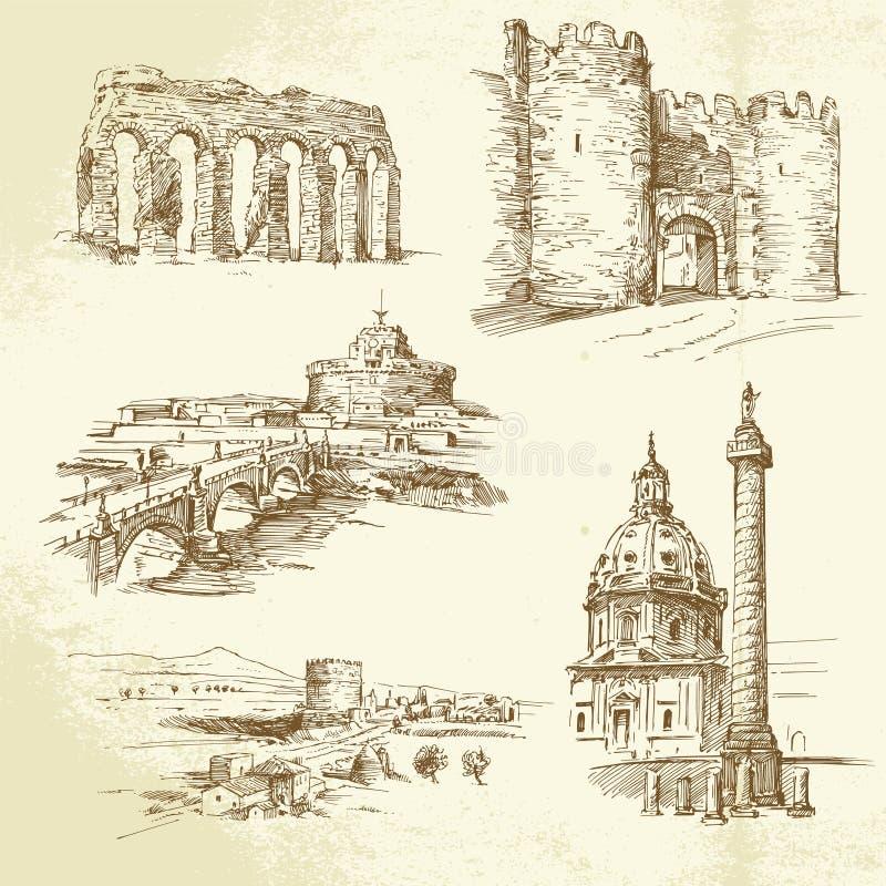 Rzym - ręka rysujący set ilustracji