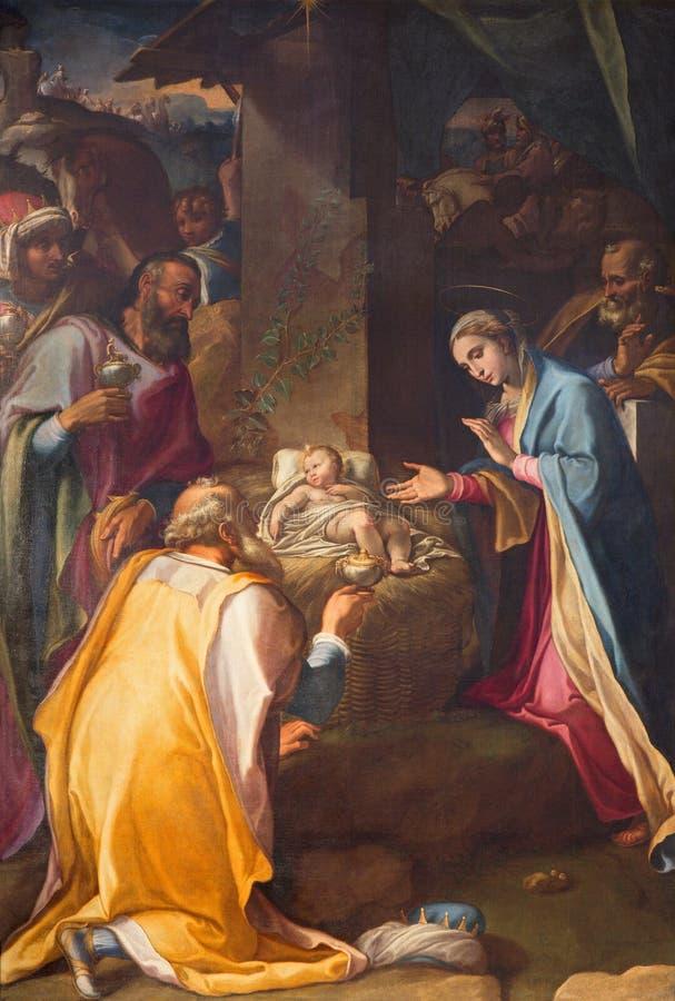 Rzym - (Santa Maria w Vallicella) 1534, 1614) farba Trzy Magi w kościelnym Chiesa Nuova Cesare Nebbia (- obrazy royalty free