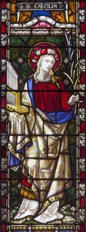 Rzym - St Cecilia na witrażu Wszystkie świętego ` kościół anglikański workroom Clayton 19 i Hall cent obrazy royalty free