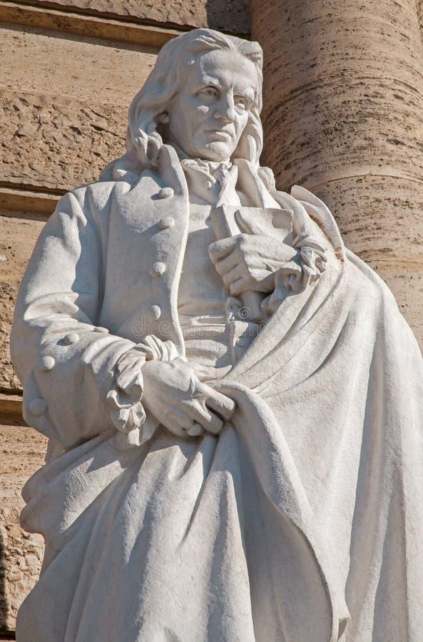 Rzym - statua Neapolitan filozof Giambattista Vico od fasady Palazzo Di Giustizia Emilio Gallori fotografia royalty free