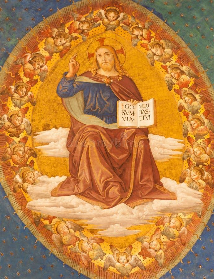Rzym - szczegół fresk Chrystus Pantokrator od apsydy Santa Croce w Gerusalemme kościół zdjęcia royalty free