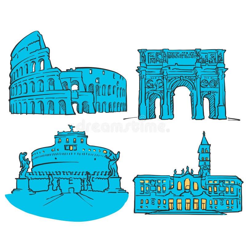 Rzym Włochy Barwioni punkty zwrotni ilustracja wektor