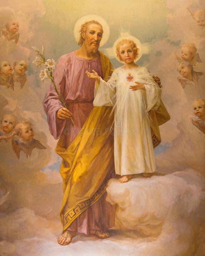 RZYM, WŁOCHY: Farba St Joseph E Ballerini (1941) w kościelnym Chiesa Di Nostra Signora del Sacro Cuore zdjęcia royalty free