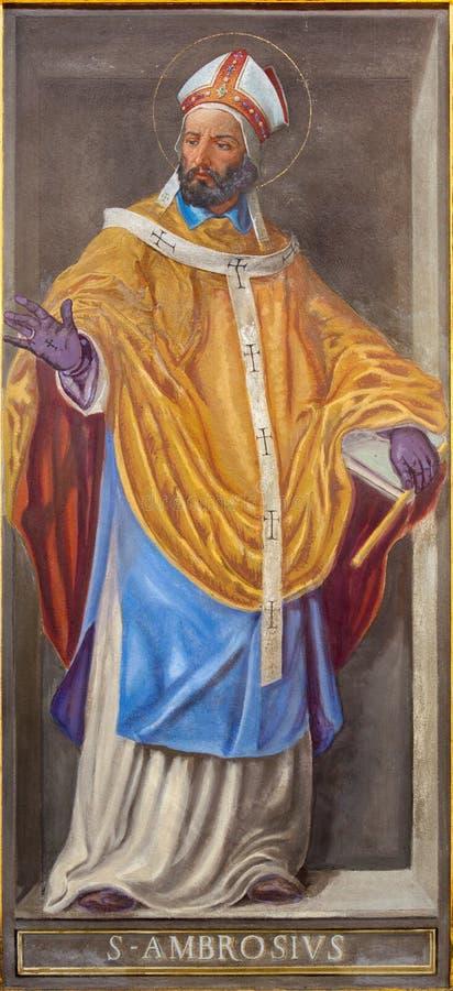 RZYM WŁOCHY, MARZEC, - 9, 2016: Fresk lekarka kościół St Ambrose w kościelnym Chiesa Di Santa Maria w Aquiro obrazy stock