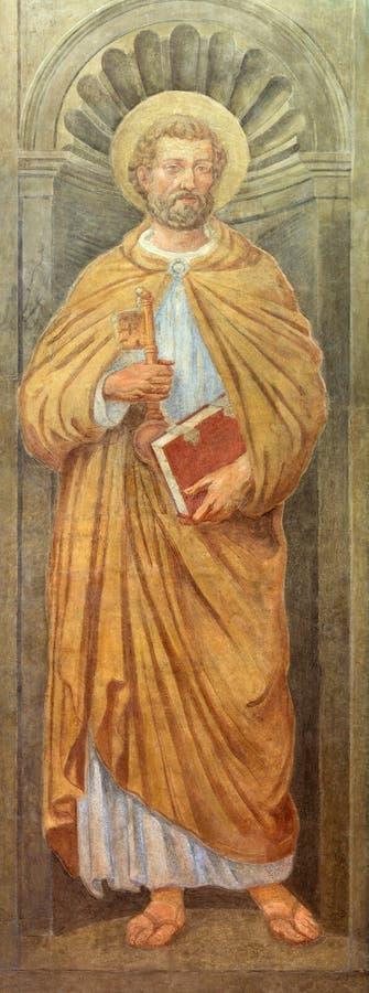 RZYM WŁOCHY, MARZEC, - 12, 2016: Fresk St Peter w kościelnym Chiesa Di Nostra Signora del Sacro Cuore zdjęcia stock