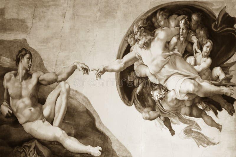 Rzym Włochy Marzec 08 tworzenie Adam Michelangelo obraz stock