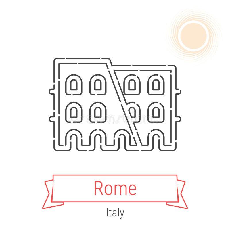 Rzym, Włochy wektor linii ikona ilustracja wektor