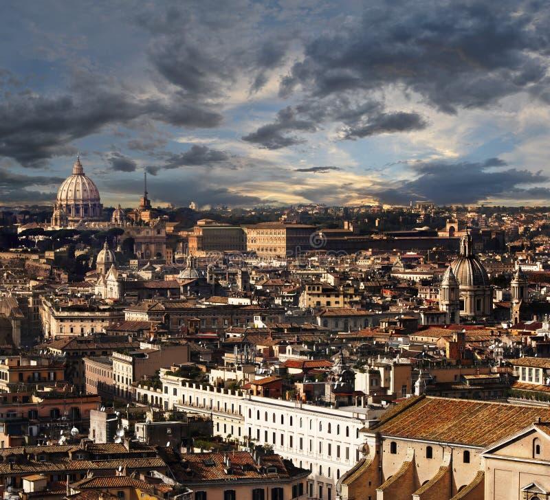 Rzym, widok z lotu ptaka panoramy krajobraz zdjęcia royalty free